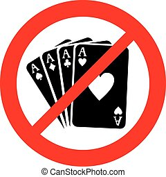 four aces not allowed sign (gambling prohibition icon)