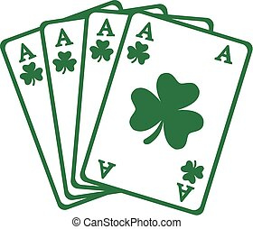 Four aces playing cards for saint patrick's day