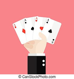 Four aces playing cards in hand