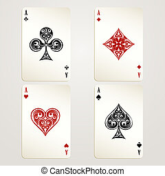 Four aces playing cards vector designs showing each of the...