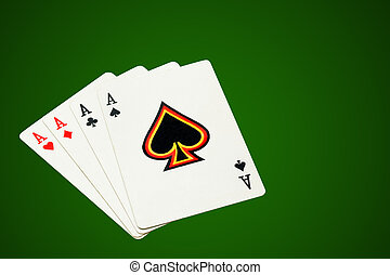 Four aces, poker cards on green background, isolated,...