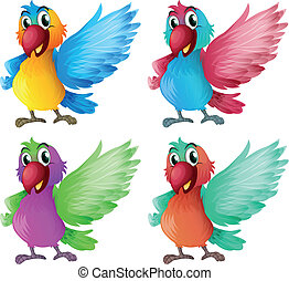 Four adorable parrots - Illustration of the four adorable...