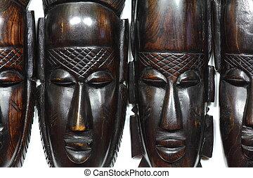 Four African wooden masks
