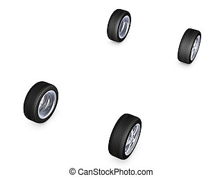 alloy wheel tire - four alloy wheel tires isolated on white...