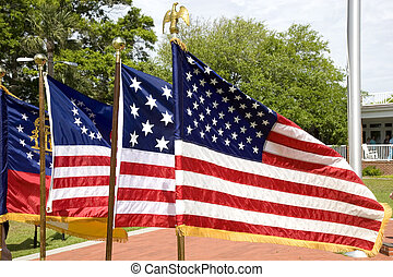 Four American Flags