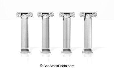 Four ancient pillars, isolated on white background.