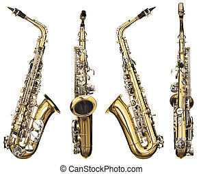 saxophone - Four angles of a classical alto saxophone...