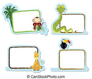 four animal stickers