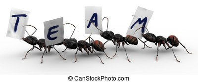 Four Ants Four Ants Team Work - Four ants carrying fragments...