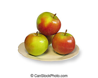 Four apples on the plate