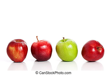 Four apples - Red and green apples isolated on white...