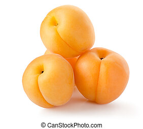 Four apricots isolated on a white background