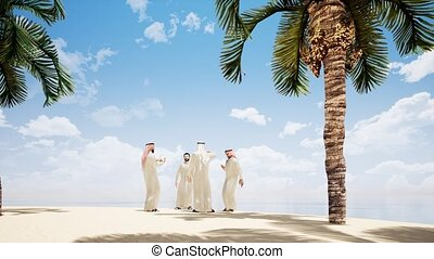 Four Arab men are talking on the beach with palm trees. 4k