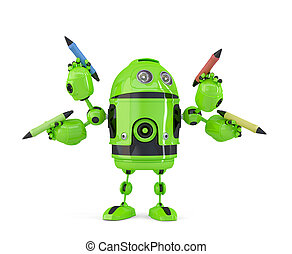 Four-armed 3d robot with pencils. Multitasking concept. Isolated. Contains clipping path.