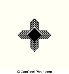 four arrow compass stripes design logo vector