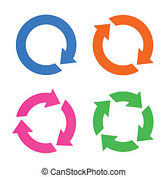 Four arrow reload icons - Four colorful arrow reload icons