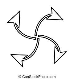 Four arrows in loop from  center  black icon .
