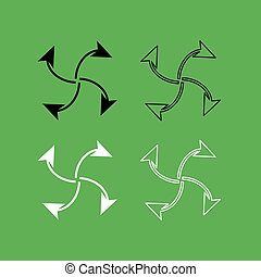 Four arrows in loop from  center icon  Black and white color set