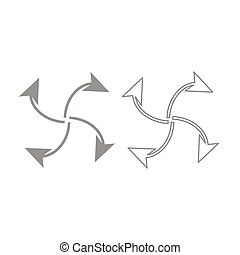 Four arrows in loop from  center icon. Grey set .