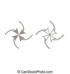 Four arrows in loop in  center icon. Grey set .