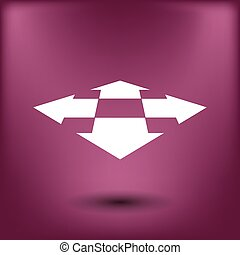 Four arrows in perspective. Flat icon