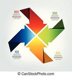 Four arrows  infographic, chart, scheme, diagram.