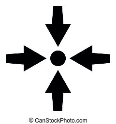 Four arrows point show to dot icon black color illustration flat style simple image
