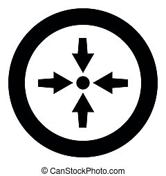 Four arrows point show to dot icon black color vector illustration simple image