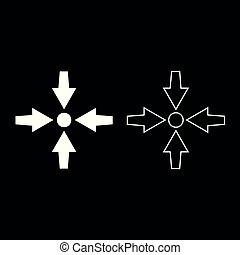 Four arrows point show to dot icon set white color illustration flat style simple image
