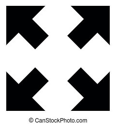 Four arrows pointing to different directions from the center icon black color illustration