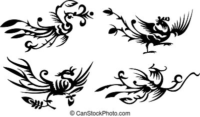 four asian/chinese phoenixes