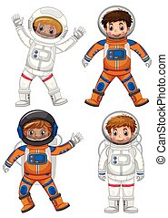 Four astronauts on white background