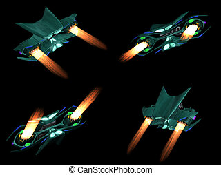 Four back views of an alien ship