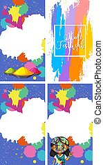 Four background design for holi festival with colorful paintings