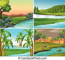 Four background scenes of rivers and field