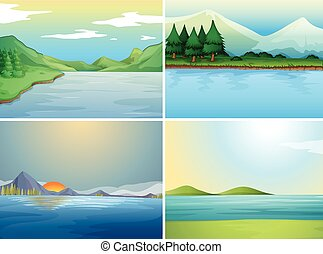 Four background scenes with lake and hills
