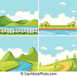 Four background scenes with park at day time