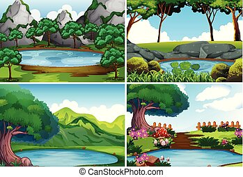 Four background scenes with pond in the park illustration