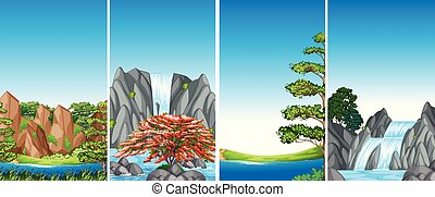 Four background scenes with waterfall and river