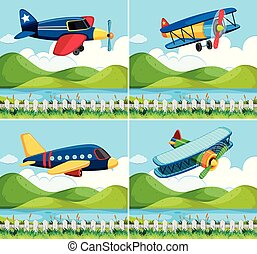 Four background with airplane flying
