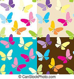 Set of four colored seamless background with butterflies