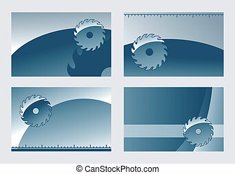 four backgrounds for business cards with saw blade