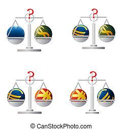 Four balances with symbols of Euro,