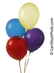 Four balloons isolated on white background