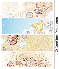 four banner with seashells