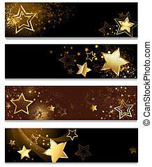 four banners with stars - four horizontal banner with gold...