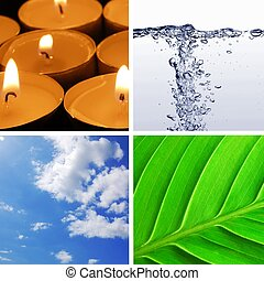 four basic elements of nature with eart, water, wind and fire