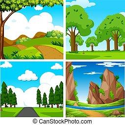 Four Beautiful Green Natural Landscape