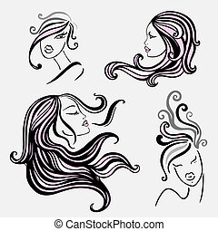 Beautiful Women with long hair. Vector Illustration.