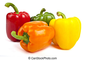 Bell Peppers over a white background. - Four Bell Peppers...